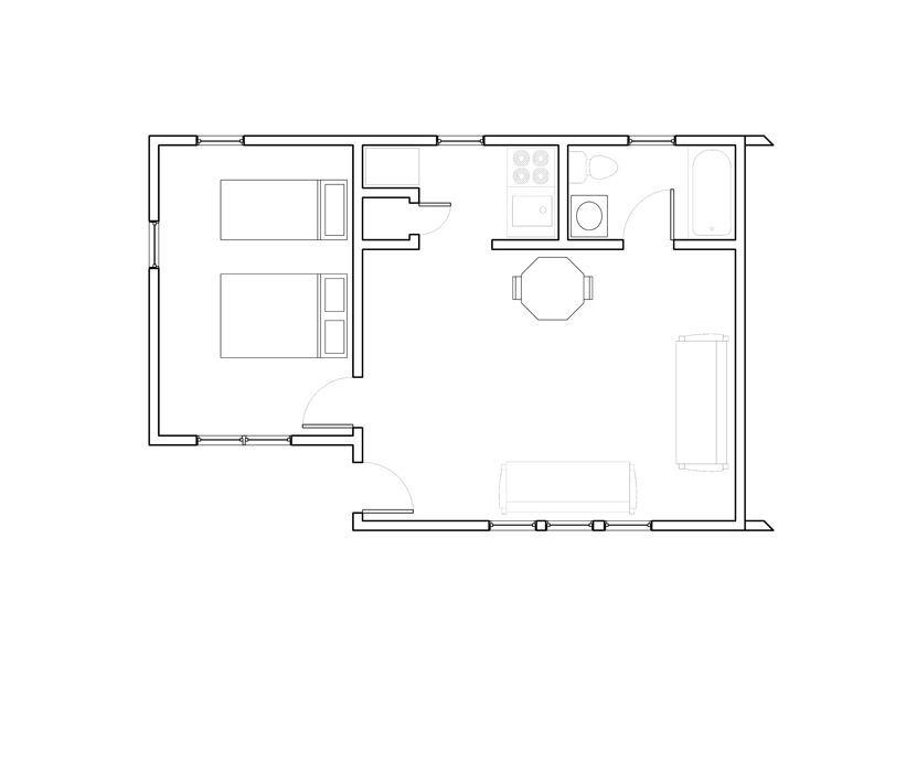 Two Room Cottage Units 3A – 6B (area 2)