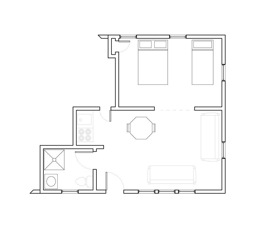 Two Room Cottage Units 1A – 2B (area 1)
